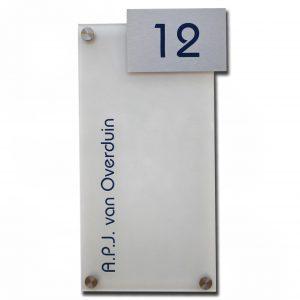 Plexiglas met uitsteek naambord 15x30cm