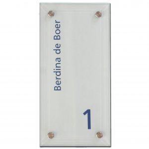 Mat glas naambord 15x30cm