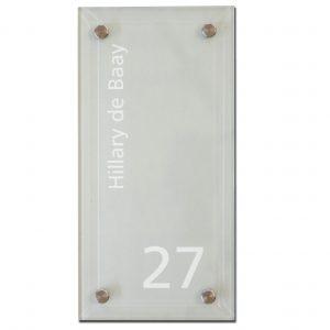 mat glas tekst uitgesneden naambord 15x30cm