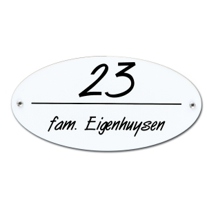 Kunststof naamplaatje wit ovaal 16,5x8,2cm met schroeven