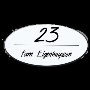 Kunststof naamplaatje wit ovaal 16,5x8,2cm zelfklevend