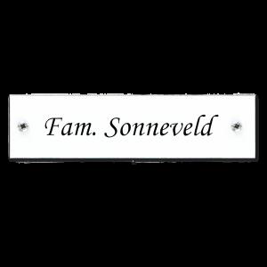 Kunststof naamplaatje wit 12x3cm met schroeven