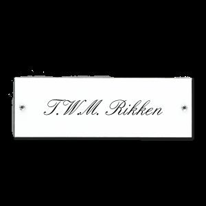 Kunststof naamplaatje wit 15x5cm met schroeven