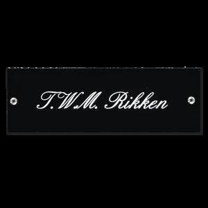 Kunststof naamplaatje zwart 15x5cm met schroeven