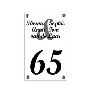 Plexiglas naambord 15x20cm witte achterkant