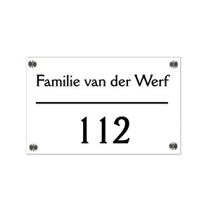 Plexiglas naambord 20x15cm witte achterkant