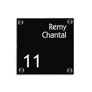 Plexiglas naambord 17,5x17,5cm zwarte achterkant