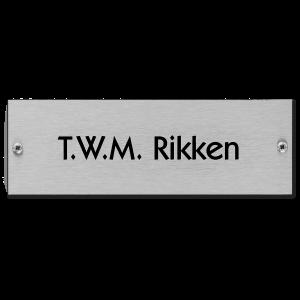 RVS naamplaatje 15x5cm met schroeven