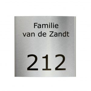 RVS gebogen naambord 20x20cm