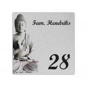 Aluminium rvs look 15x15cm Boeddha