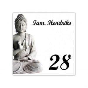 Aluminium naambord wit 15x15cm Boeddha