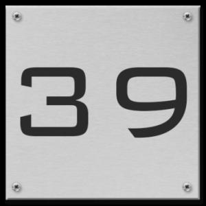Aluminium huisnummerbord 12x12cm RVS look met gaten