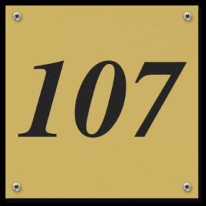 Kunststof huisnummerbord 12x12cm Messing look met schroeven