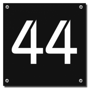 Kunststof huisnummerbord 12x12cm Zwart met gaten
