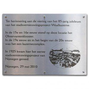 RVS Gedenkplaat 42x29,7cm A3 formaat