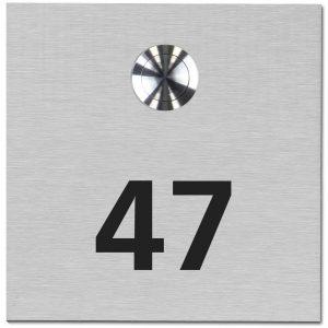 Deurbel RVS boven met tekst of huisnummer 100x100mm