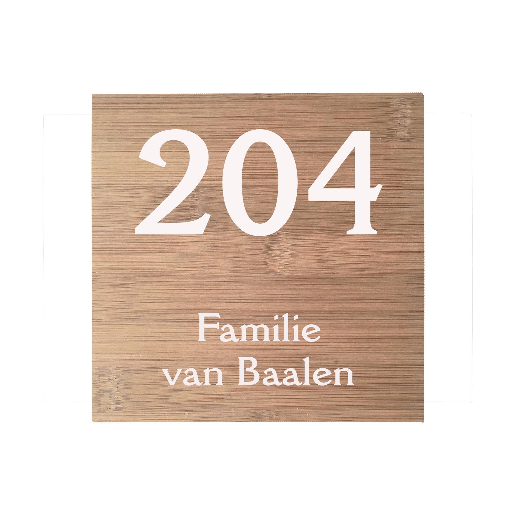 Naamplaat Bamboe 17,5x17,5cm laten maken